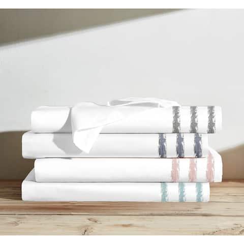 Clipped Jacquard Hem 100% Cotton Sheet Set