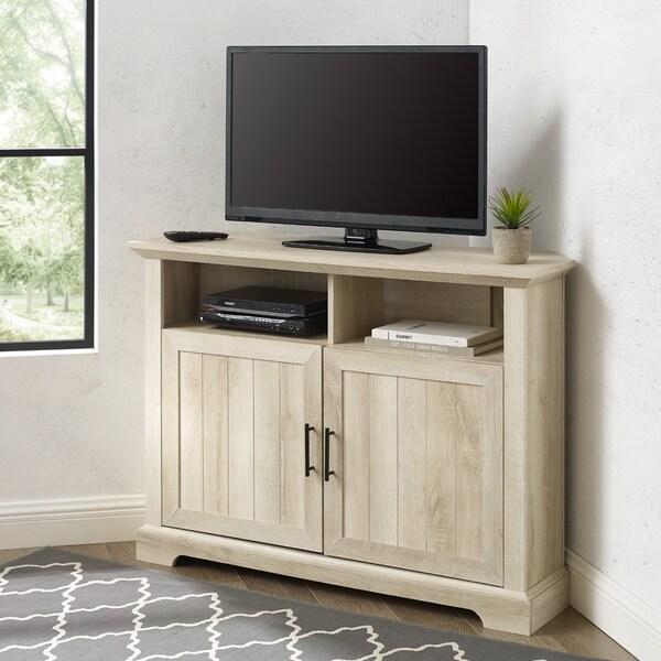 The Gray Barn 44-inch Groove Door Corner TV Stand. Opens flyout.
