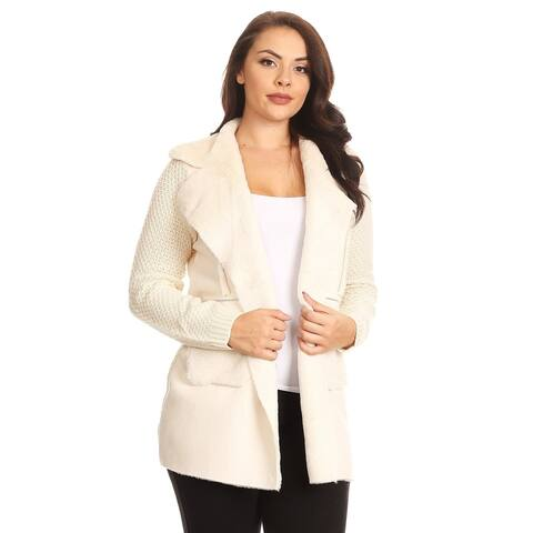 Women's Faux Fur/Suede Open Front Cardigan with Pockets