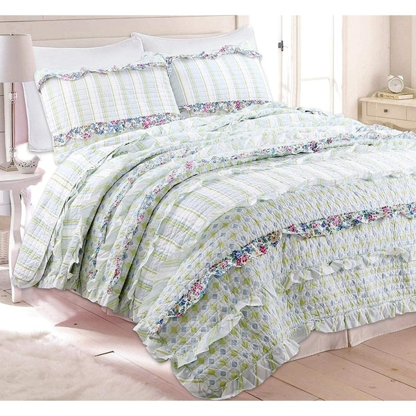Porch & Den Appellate Ruffled Cotton Reversible Quilt Set. Opens flyout.