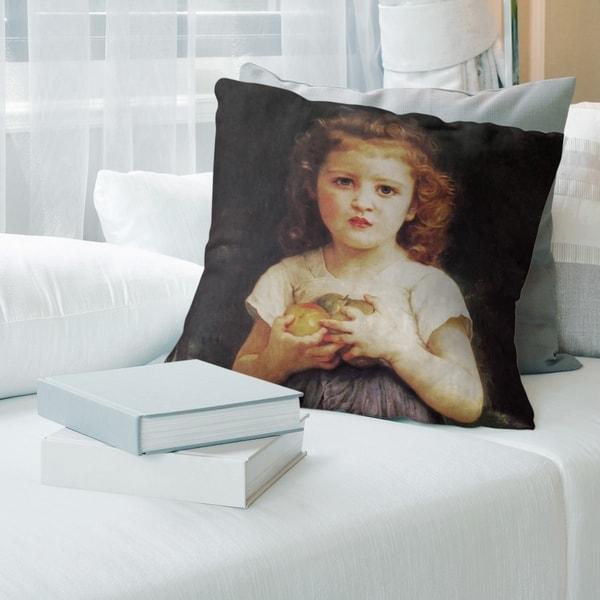 Porch & Den William-Adolphe Bouguereau 'Little Girl with Apples' Throw Pillow