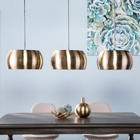 Carson Carrington Bayliss Midcentury Brass Metal Pendant Lamps (Set of 3)
