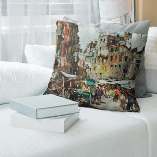 Porch & Den Felice Giordano 'Market in Naples' Throw Pillow