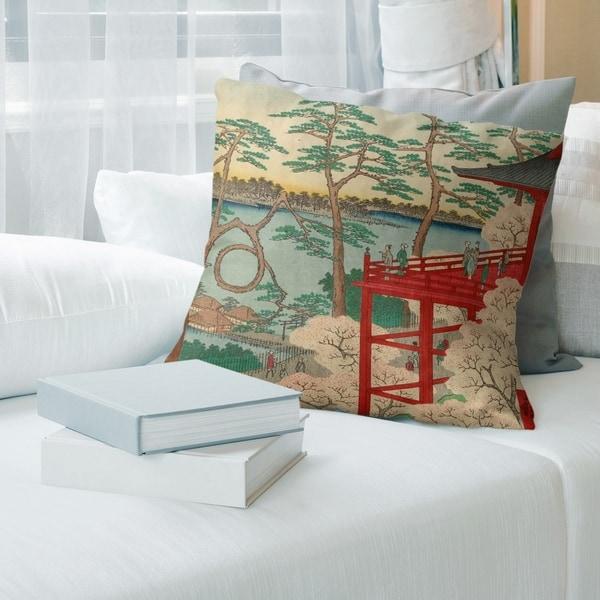 Porch & Den Utagawa Hiroshige 'Kiyomizu Hall and Shinobazu Pond at Ueno' Throw Pillow