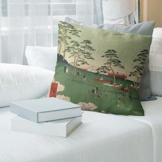 Porch & Den Utagawa Hiroshige 'View from Asuka Hill' Throw Pillow
