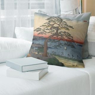 Porch & Den Utagawa Hiroshige 'Armor Hanging Pine' Throw Pillow
