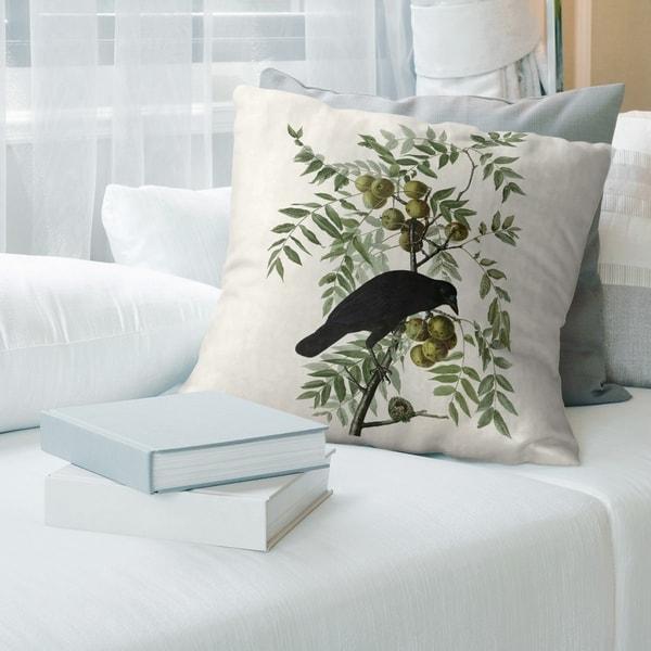 Porch & Den John James Audubon 'American Crow' Throw Pillow