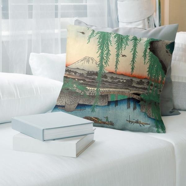 Porch & Den Utagawa Hiroshige 'Yatsumi Bridge' Throw Pillow