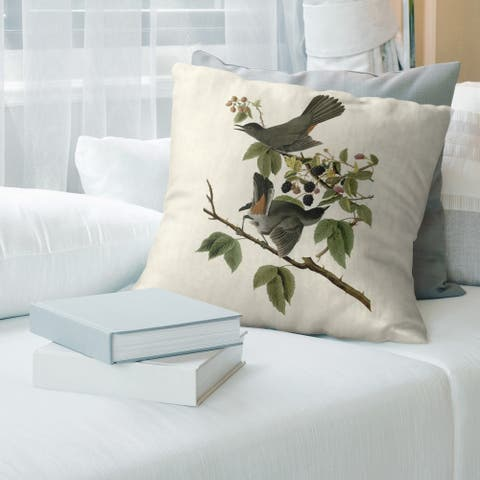 Porch & Den John James Audubon 'Cat Bird' Throw Pillow