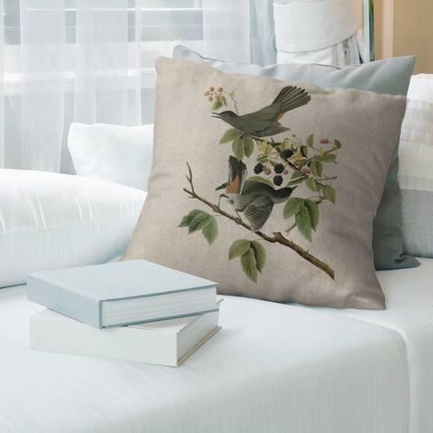 Porch & Den John James Audubon 'Cat Bird' Throw Pillow