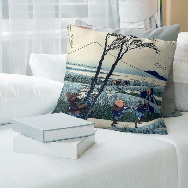 Porch & Den Katsushika Hokusai 'Ejiri in SuRuga Province' Throw Pillow
