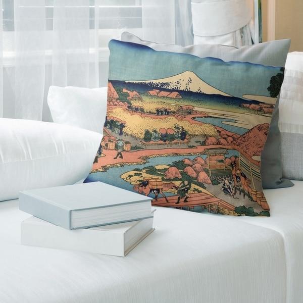 Porch & Den Katsushika Hokusai 'The Tea Plantation of Katakura' Throw Pillow