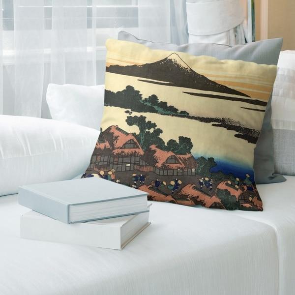 Porch & Den Katsushika Hokusai 'Dawn at Isawa in Kai Province' Throw Pillow