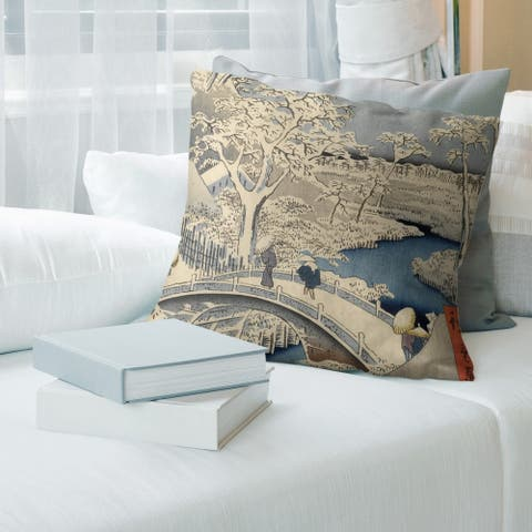 Porch & Den Utagawa Hiroshige 'Meguro Drum Bridge and Sunset Hill' Throw Pillow