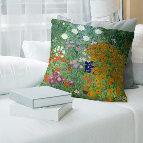 Porch & Den Gustav Klimt 'Blumengarten' Throw Pillow