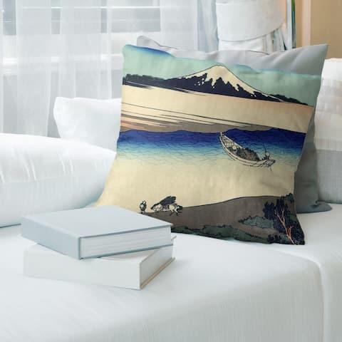 Porch & Den Katsushika Hokusai 'Tama River in Musashi Province' Throw Pillow
