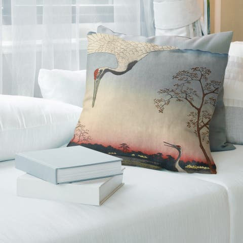 Porch & Den Utagawa Hiroshige 'Japanese Cranes' Throw Pillow