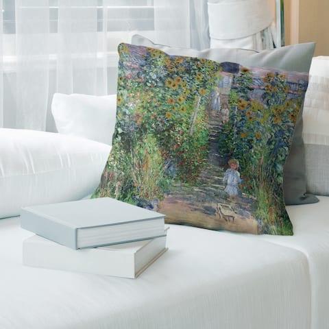 Porch & Den Claude Monet 'Flower Garden' Throw Pillow