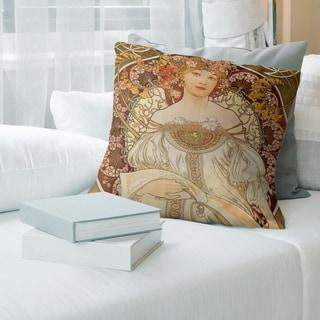 Porch & Den Alphonse Mucha 'Lady Reading' Throw Pillow