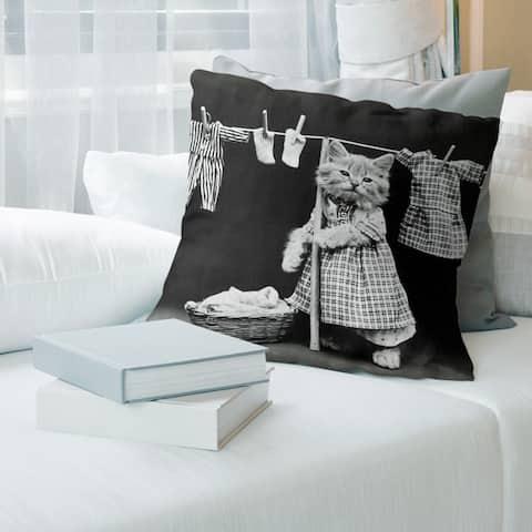 Porch & Den Nico Russo 'Vintage Kitten Doing Laundry Photo' Throw Pillow