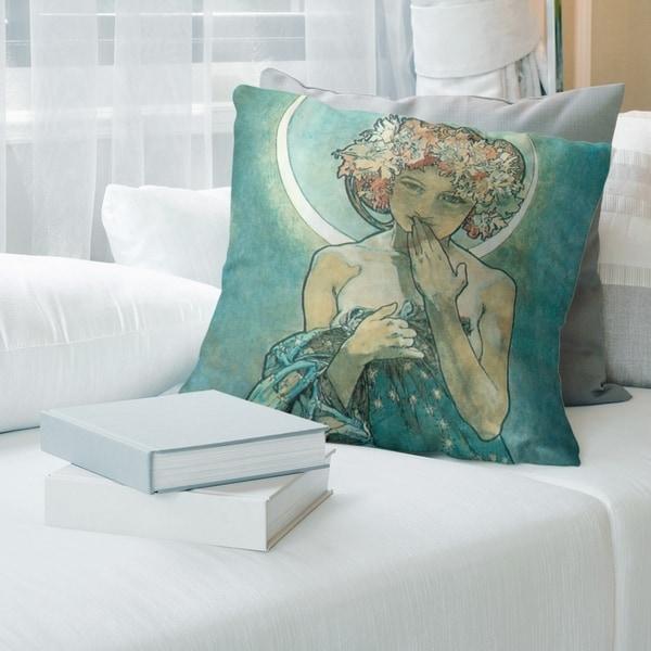 Porch & Den Alphonse Mucha 'Moon Star' Throw Pillow