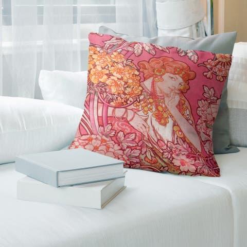Porch & Den Alphonse Mucha 'Woman Among Flowers' Throw Pillow