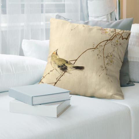 Porch & Den Keito Sato Vintage Japanese Bird/Blossom Watercolor Throw Pillow