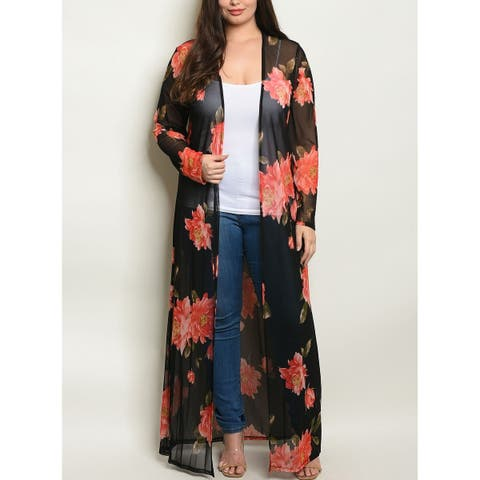 JED Women's Plus Size Maxi Floral Cardigan