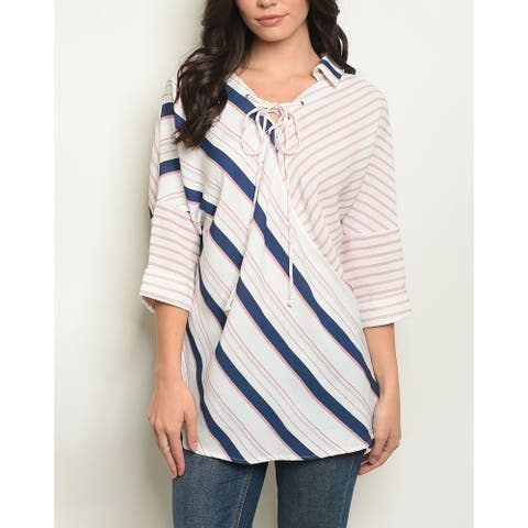 JED Women's Lace Up Stripes Print 3/4 Sleeve Collared Shirt