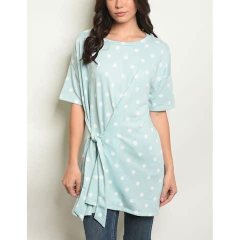 JED Women's Short Sleeve Waist Tie Polka Dot T-shirt