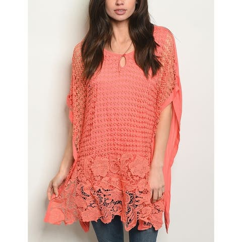 JED Women's Layered Crochet Style Tunic Top