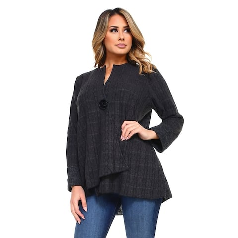 Women's Gray Duo Fabric Cardigan with One Button Closure