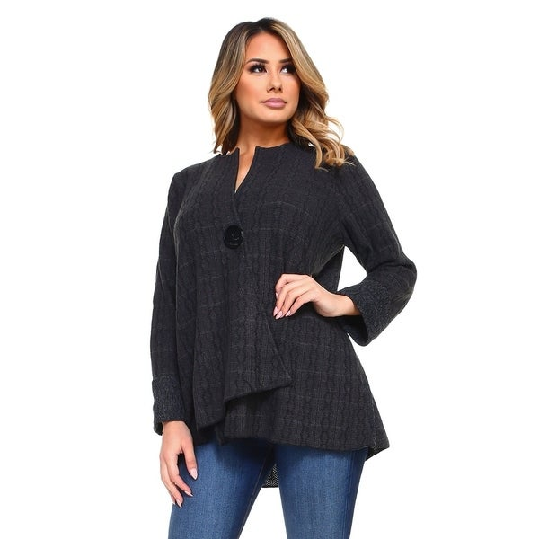Women's Gray Duo Fabric Cardigan with One Button Closure. Opens flyout.