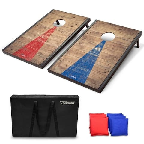 GoSports Classic Cornhole Set with Rustic Wood Finish Includes 8 Bags, Carry Case and Rules