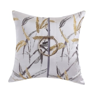 """""""Jacquard"""" Contemporary Accent Pillow in Silver with Gold Metal Accent  (18-in x 18-in)"""