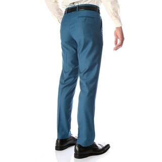 Ferrecci Men's Halo Teal Slim Fit Flat-Front Dress Pants