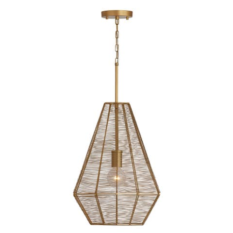 Sonja 1-light Honey Gold Metal Pendant