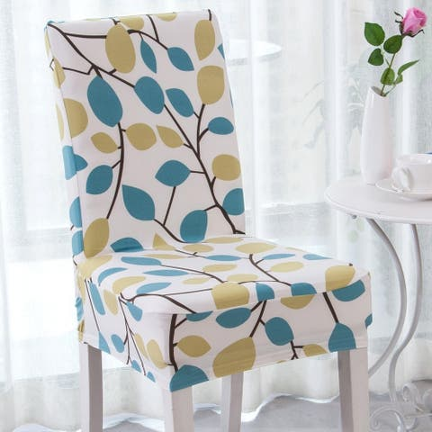 Enova Home Season Flower Elegant Polyester and Spandex Stretch Washable Dining Chair Slipcover Set of 4