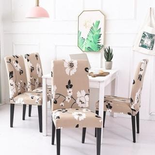 Enova Home Jasmine FlowerElegant Polyester and Spandex Stretch Washable Dining Chair Slipcover Set of 4