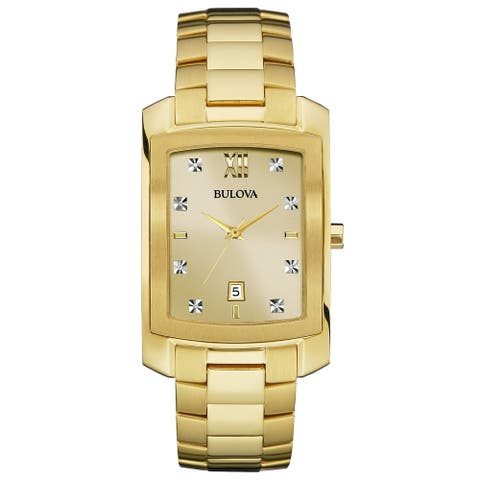 Bulova Men's 97D107 Goldtone Diamond Accent Tank Bracelet Watch