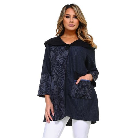 Women's Black/Blue Snake Print Cardigan with Round Collar