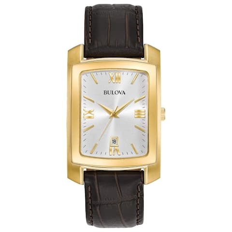Bulova Men's 97B162 Goldtone Brown Leather Strap Watch