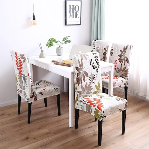 Enova Home Yellow Leaf Elegant Polyester and Spandex Stretch Washable Dining Chair Slipcover Set of 4