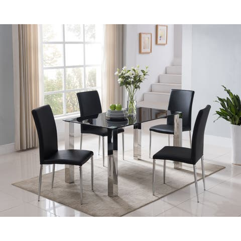 Black Metal And Faux Leather Parsons Dining Chair Set Of 4