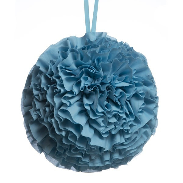 Hanging Ruffled Ball Pillow, Turquoise