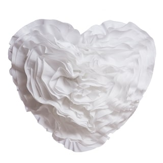 Ruffled Heart Pillow, White