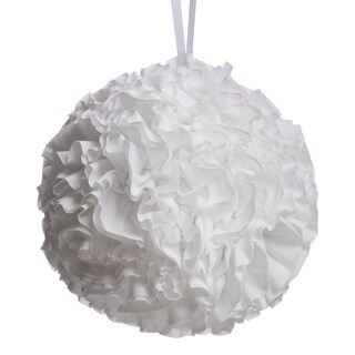 Hanging Ruffled Ball Pillow, White