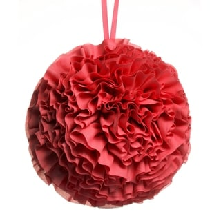 Hanging Ruffled Ball Pillow, Red
