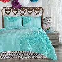 Porch & Den Covey King-size Turquoise Flower 3-piece Quilt Set