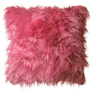 "Faux Fur Throw Pillow 18""x18"" (Cover Only), Mongolian Long Hair Watermelon"